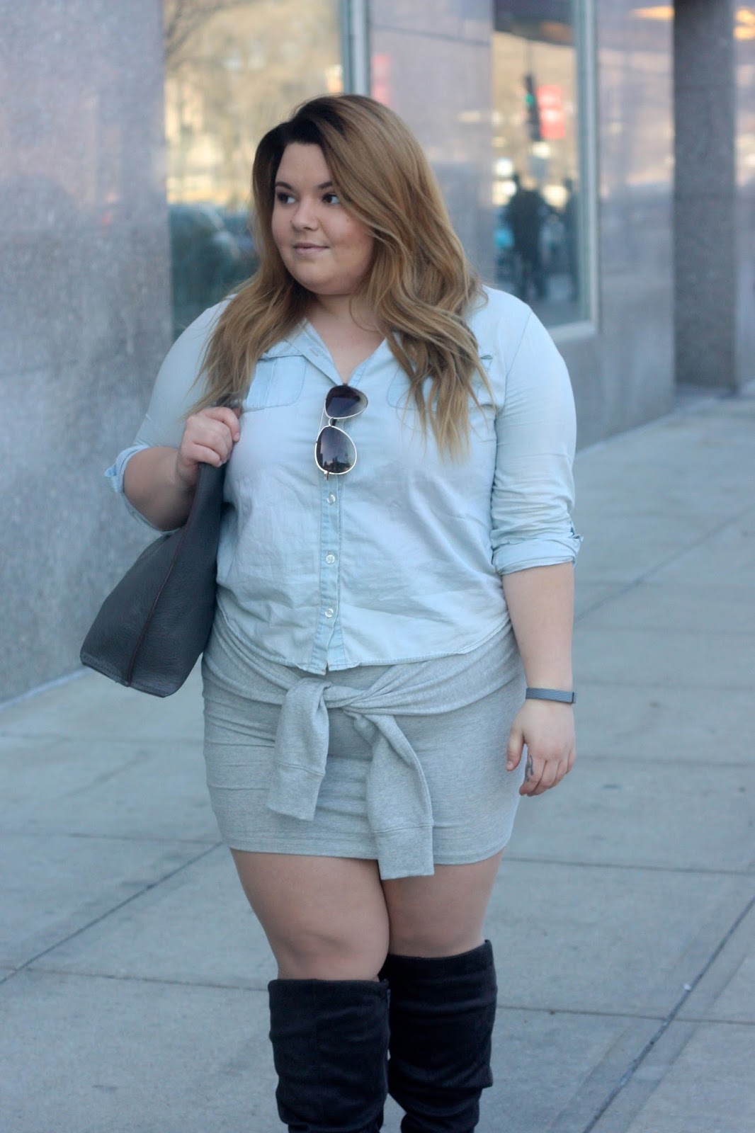 natalie in the city, natalie craig, chicago, ps fashion, plus size fashion blogger, how to wear a tie waist skirt, curvy, fatshion, charlotte russe plus, denim button up, knee high wide calf suede boots, bottle blonde