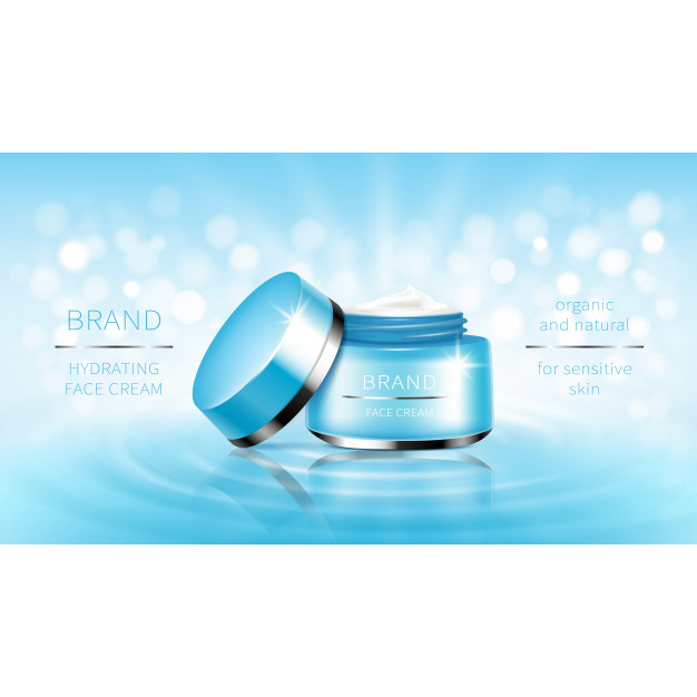Cosmetic banner blue open jar for skin care cream, ready for promotion brand. Free Vector