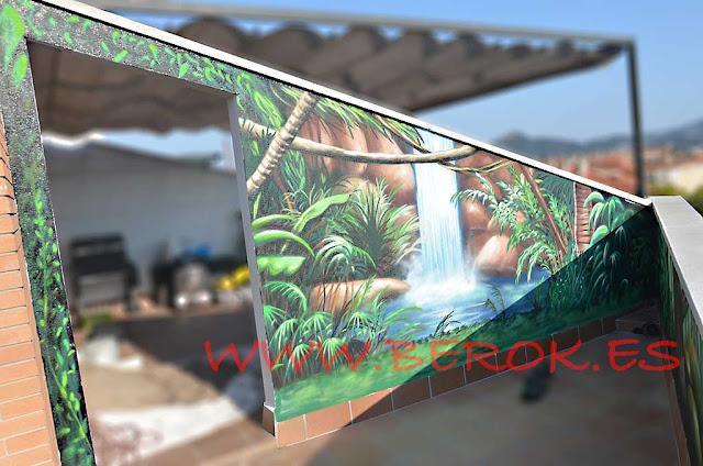 Pintura mural terraza cascada