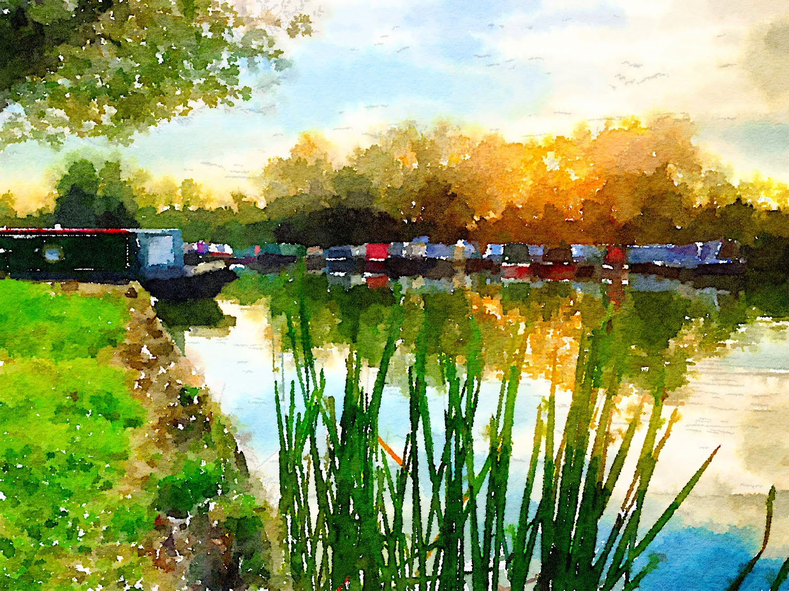 Watercolour of Gayton Marina