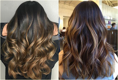 Shimmering Wavy Ombre - Two Tone Hair Color Dark On Top Light On Bottom