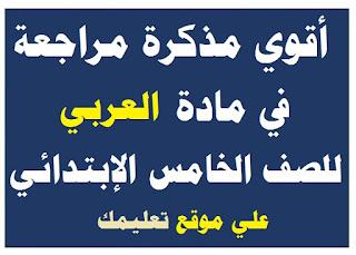 مذكرة شرح في مادة العربي الصف الخامس الإبتدائي