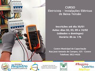 Inscrições abertas para Curso de Eletricista em Registro-SP