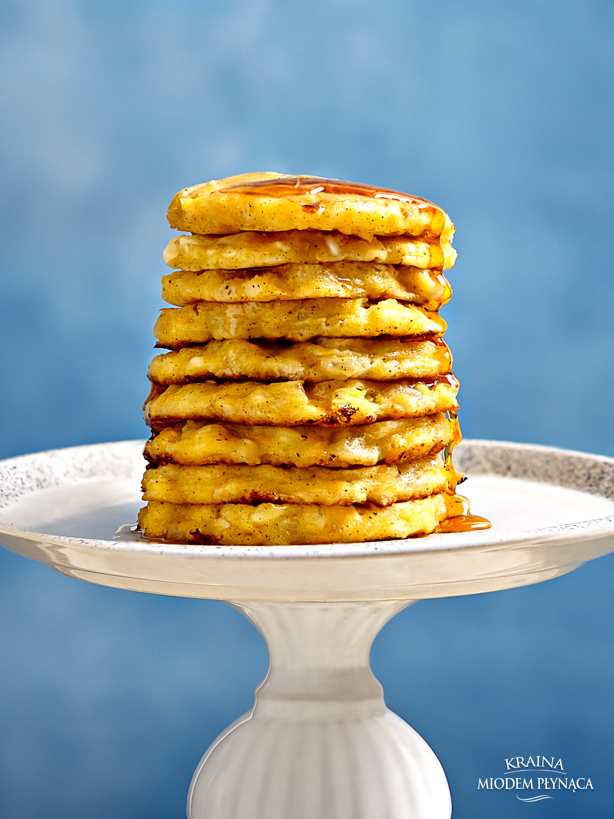 placki z jabłkiem, pancakes z jabłkiem, placki z serkiem wiejskim, pancakes z serkiem wiejskim, placki na serku, pancakes na serku, grube placki, deser z jabłkami, kraina miodem płynąca