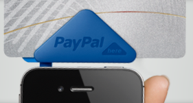 PayPal Here scanning a credit card from a smartphone