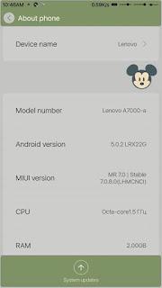 Custom Rom Miui v7. 7.0.8.0 Stable Redmi Note 2 Untuk LENOVO A7000