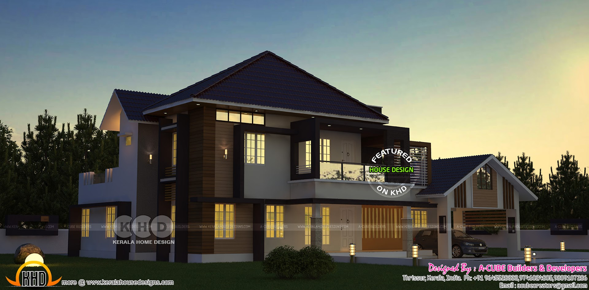 Beautiful Western Model Sloping Roof House Architecture