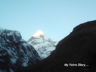 The sight of the Neelkanth peak in the Garhwal Himalayas, Badrinath during sunrise