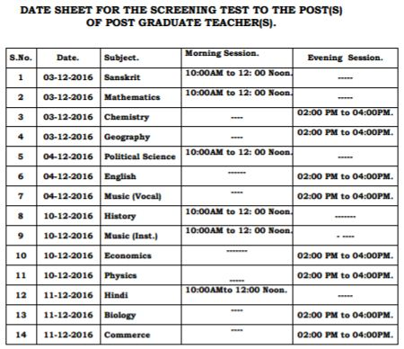 image : HPPSC Date Sheet - PGT Screening Test 2016 @ Teachmatters
