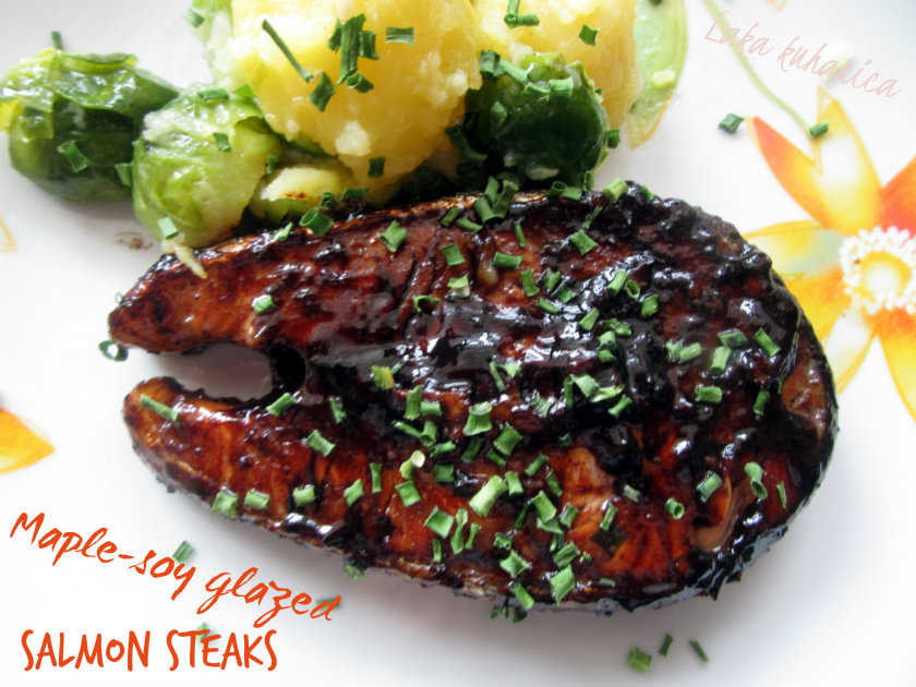 Maple-soy glazed salmon steaks by Laka kuharica: lovely balance of salty and sweet perfectly complements salmon.