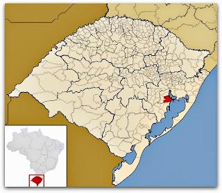 Cidade de Barra do Ribeiro, no mapa do Rio Grande do Sul