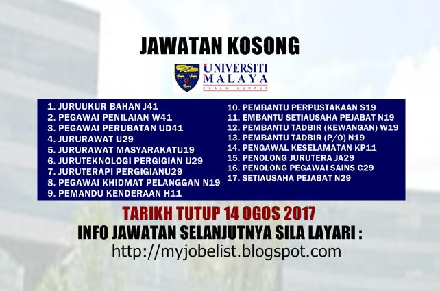 Jawatan Kosong Terkini di Universiti Malaya (UM) Ogos 2017