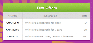 Cherry Prepaid CMANET10 and CMANET99 Unli Text to All Networks Promo