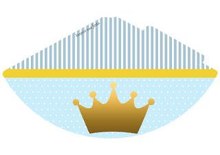 Sombrero para Imprimir Gratis de Corona en Fondo Celeste.