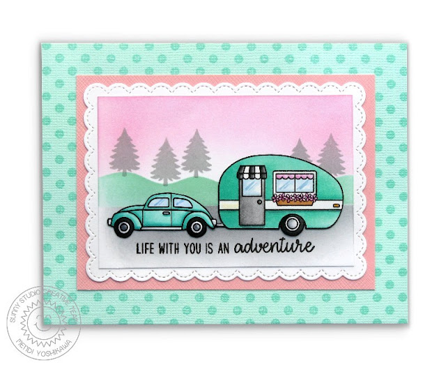 Sunny Studio: Happy Camper Life With You is An Adventure 1950's Retro Trailer Card (using Fancy Frames Rectangle Dies & Background Basics Polka-dot Stamps)