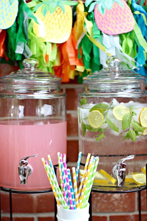 drink canisters, outdoor entertaining, beverage station, bar cart