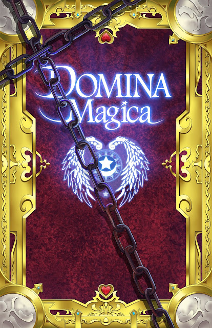 the Domina Magica cover with stylized metal and gold, a winged heart with stars inside, and the appearance of being chained.