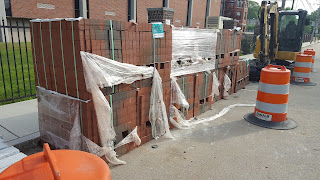brick pavers ready to be installed on the sidewalks downtown