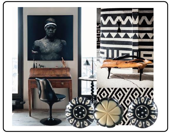 bouton de meuble noir et blanc, bouton de meuble porcelaine, bouton de meuble résine