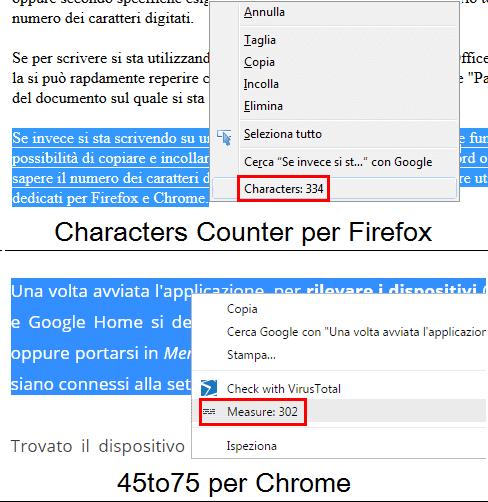 Estensione Firefox e Chrome per vedere numero caratteri di testo selezionato