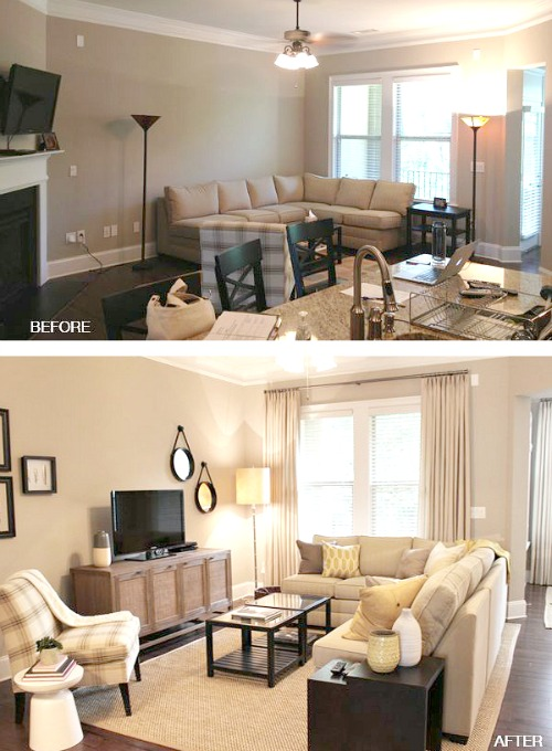 in the case above in the first photo the furniture hug the walls but by bringing the sectional away from the wall you create the illusion of more space