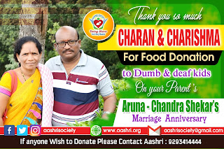 aashri society food donation to dumb and deaf kids with charan