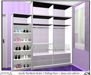 Dalam lemari minimalis pintu sliding cabinet unit Katie
