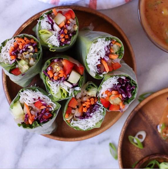 Veggie Spring Rolls with Spicy Peanut Dipping Sauce #Veggies #Vegan