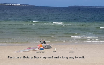 Test run at Botany Bay - tiny surf and a long way to walk