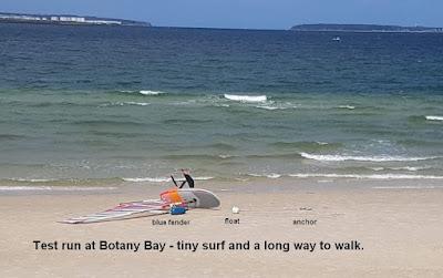 Test run at Botany Bay - tiny surf and a long way to walk