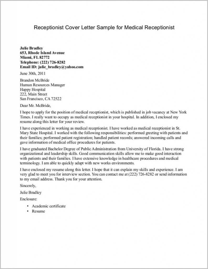 Application Letter For Secretary Receptionist