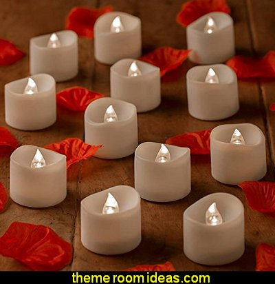 Battery Operated Candles With Timer Function BONUS Faux Rose Petals - 12 White Bright Battery Operated Candle- Flickering LED Tealights