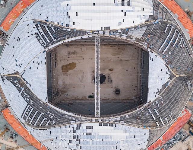 صور : شارف بناء استاد الوكرة على الانتهاء