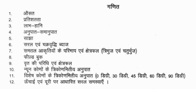 Rajasthan Patwari Math Syllabus