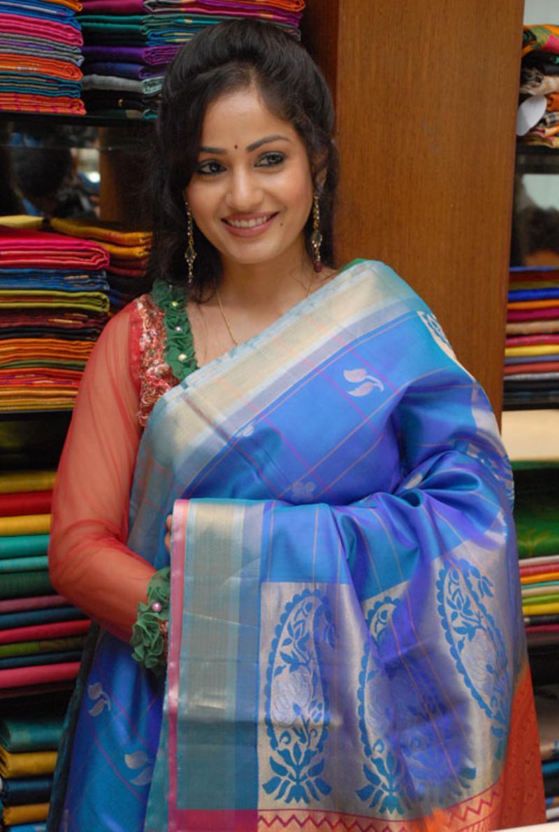 Beautiful Bellary Girl Madhavi Latha Photos In Transparent Blue Saree