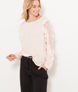 chemise rose dentelle et volant camaïeu