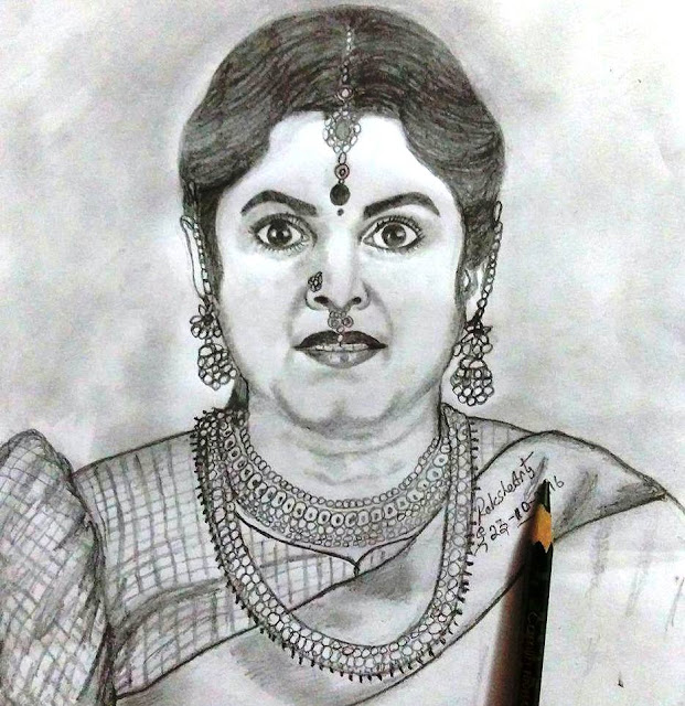 PENCIL DRAWING - ACTRESS RAMYA KRISHNAN