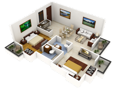 modern 3D floor plan - house plans 2016