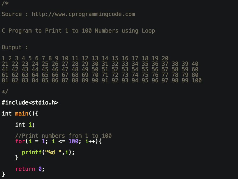 Programming Tutorials: C Program to Print 1 to 100 Numbers