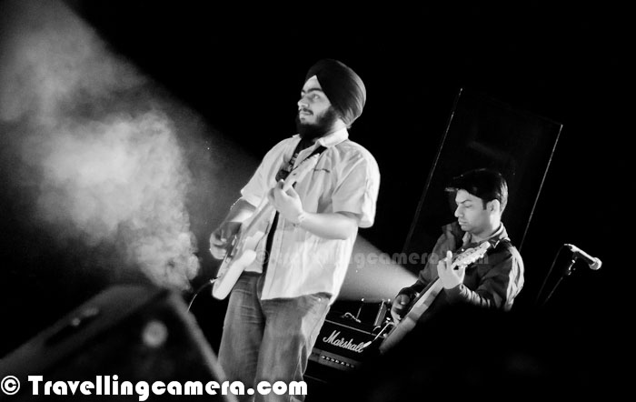 Before everyone forget about amazing Winter Carnival by Adobe India, I thought of sharing another Photo Journey with two inhouse bands of Adobe - Wishing Well & Sattav (सत्त्व). Although I have least details about these two bands but the performances were brilliant and hope that photographs below would be able to show you the passion of these folks...Neeraj Kakoty, a prerelease program associate, sets the pace with his power drumming. His style of immaculate drumming is the back bone of all that Level 8 used to do. A drummer by the age of 13, he grew up listening to Deep Purple, Black Sabbath, Iron Maiden et all and idolizes the drumming gods like Neil Peart, Dave Weckl, DannyCarey (Tool) and Steve Gadd. After watching his idols perform live and playing for a band that opened for the 'Gypsy Kings' a few years back in Canada, he has always dreamt of having his own band. Besides the passion for the drums, he is a storehouse of good humor and wackiest jokes.Ankur Prakash on Keyborad, although he also plays guitar. In fact, he is a popular Guitar Instructor and many of the folks in Adobe have been taught by him.Amit Khulbe on right - Amit 'The Blues' Khulbe went for a rock concert during his college days, more out of curiosity than interest. As Amit recalls, his immediate reaction was to get hold of a guitar and start strumming. Ever since, there's no looking back for him. With major in influence from bands like Scorpions, Led Zeppelin, Judas Priest etc., Amit with his free  owing guitar techniques and improvisation de nes the sound of the band. His love for dishing out great leads and earthy solos is transcended only by his love for free jamming sessions. (These details are picked from one of the PDF talking about their band in initial days :) )Shannon Victor Peter on Stage @ Steller Gymkhana, Greater Noida !During the evening two in-house bands performed before Euphoria and it was great beginning of this event. Wishing Well is one of the Adobe's in-house rock bands, which was formed in 2005. Wishing Well is formed of -Shannon Victor Peter as VocalistAmit Khulbe as Lead GuitaristBhavneet Singh Ahuja on Rhythm GuitarNeeraj Kakoty on DrumsGaurish Kshirsagar on Bass GuitarAnkur Prakash on KeyboardWishing Well plays rock music and there is some news that they will soon come up with self compositions too :)Sattva is the second band which is newly formed Hindi Fusion Band with 7 members of Adobe India. सत्त्व was formed 3 months ago and these folks have been practicing stuffs since then. सत्त्व is still in early stage of writing songs, so they mostly do covers of movie or band songs. Sattva consists of - Mili Sharma - VocalistSwagat Konchada - VocalistBhavneet Singh Ahuja - GuitarAnuj Batta - Flute & KeyboardNeeraj Kakoty - DrumGaurish Kshirsagar - Bass GuitaAnkur Prakash - Guitar
