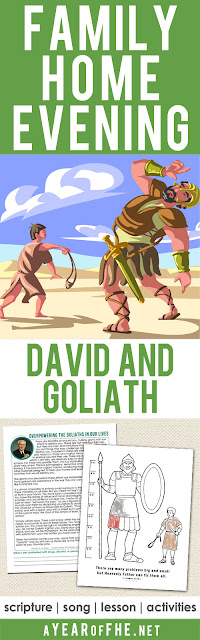 "A Year of FHE // a Family Home Evening all about the Bible story of David and Goliath.  This lesson teaches how to be brave, stand up for what's right, and fight against the temptations that come our way.  Includes a scripture, song, lesson and a coloring page for small children. For older kids and teens there is a download that includes a portion of a General Conference talk by Gordon B. Hinckley about overpowering the ""Goliaths"" in our lives, specifically drugs, alcohol, and pornography.  There is a space at the bottom to write what you will do when confronted by these ""Goliaths"". #lds #goliath #david"