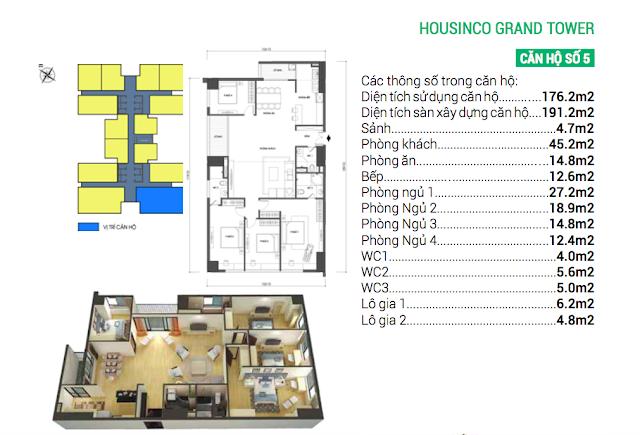 Thiết kế căn hộ 05 chung cư Housinco Grand Tower