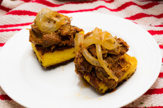 Pulled Pork on fried Polenta Squares - Cooking Madly
