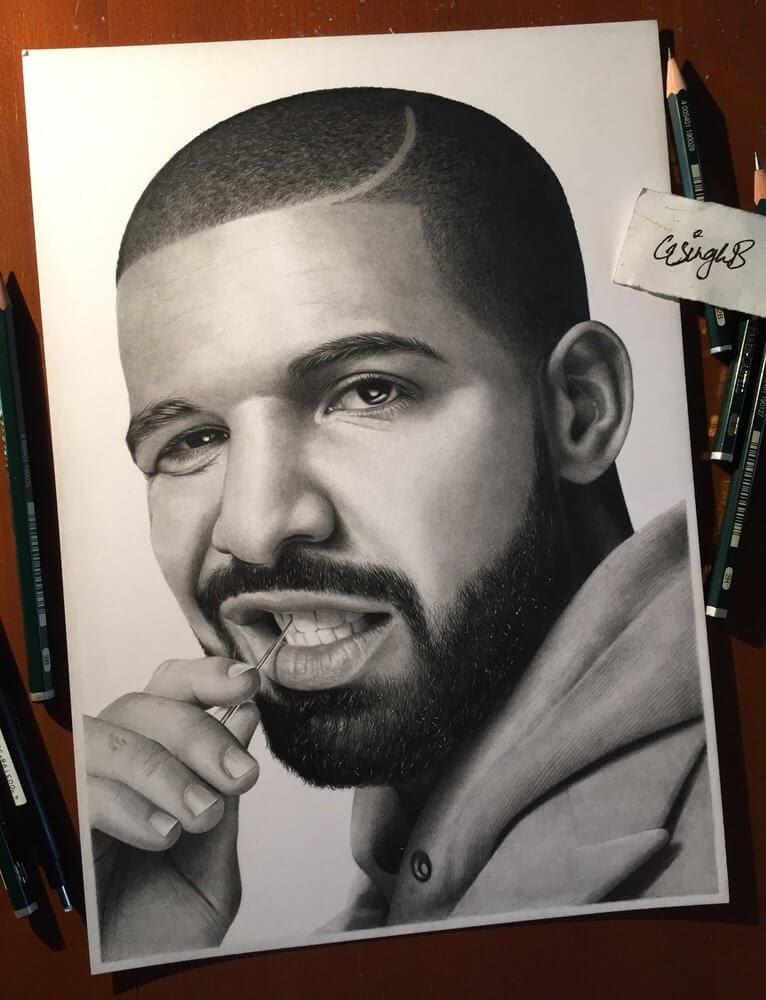 03-Drake-Gurekbal-Bhachu-Realistic-Celebrity-Portraits-Drawings