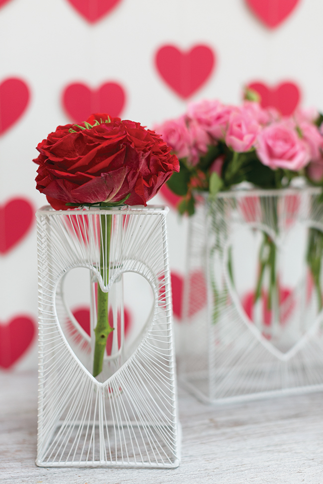 White Heart Stand - perfect for rosebuds for valentine's day by Accent Decor