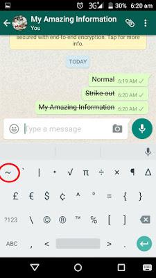 WhatsApp fond me Strike out word kaise likhe