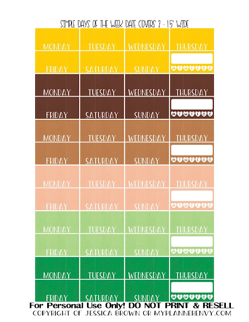 Free Printable Updated Simple Days of the Week Date Covers Page 2 for the Vertical Erin Condren, Recollections Creative Year, and Classic Happy Planners from myplannerenvy.com