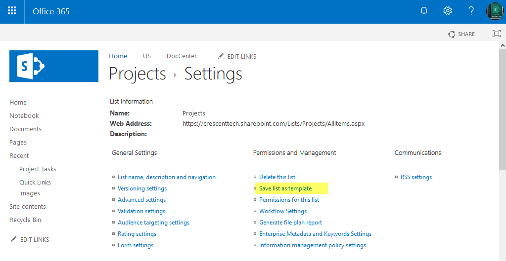 create list template in sharepoint online
