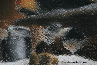 Detail of high textured watercolor paper - pastel painting Tuscany