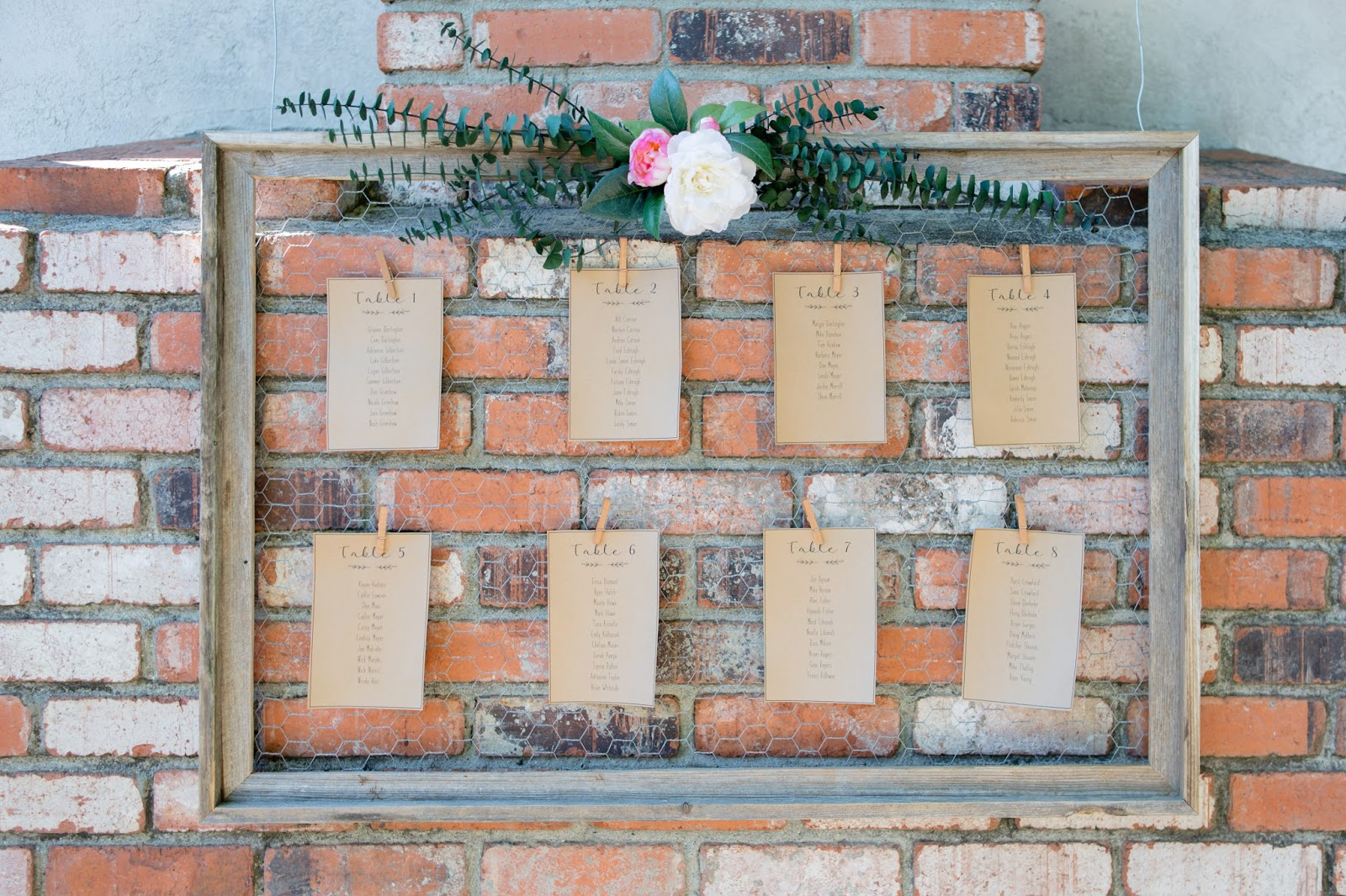 DIY seating chart for backyard wedding